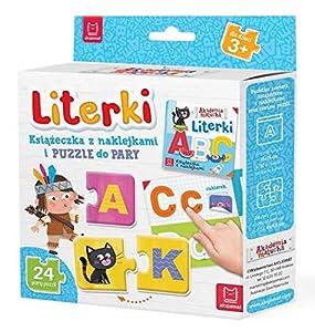 Literki Ksiazeczka z naklejkami i puzzle do pary