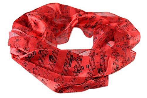 Schal Noten (rot/schwarz) - Schönes Geschenk für Musiker