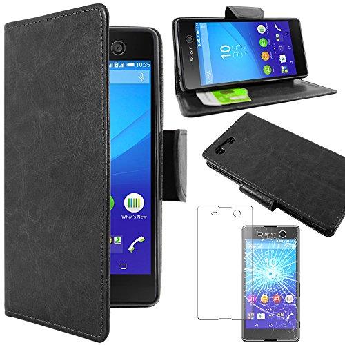 ebestStar - Sony Xperia M5 Hülle M5 Dual Kunstleder Wallet Case Handyhülle [PU Leder], Kartenfächern Standfunktion, Schwarz + Panzerglas Schutzfolie [M5: 145 x 72 x 7.6mm, 5.0'']