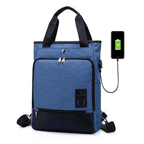 Zaino Casual Spalla Borsetta Donne Uomo SINOKAL Zaino Porta PC Impermeabile Zaino Scuola Borsa a tracolla Zaino per il Daypack sportivo da viaggio con porta di ricarica USB (Blu)