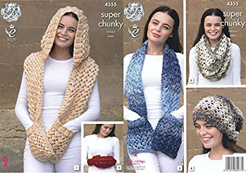 King Cole Ladies Super Chunky Knitting Pattern Scarves Snood Slouchy Hat & Hand Warmer (4355)