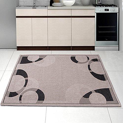 Grand Tapis de Salon Tissé à Plat - Argenté Noir - 120 x 170 cm - Design Contemporain - Pour la Chambre Moderne - Arcs de Cercle - « SIZAL-DECO» - la Collection Carpeto