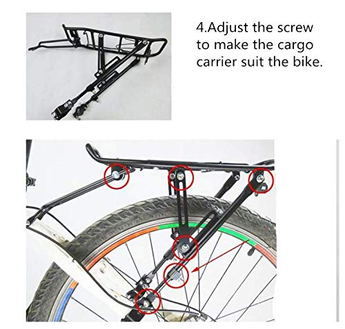 Xpork Alloy Bicycle Carrier Rack Black Rear Cargo Protect Pannier Seat Bag Luggage Package Trunk Cycle Mountain Bike Touring Outdoor 7