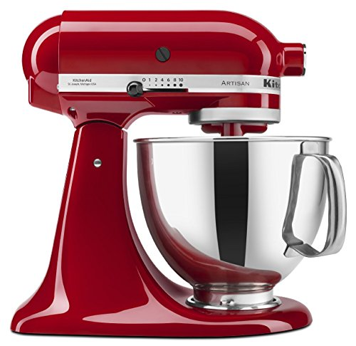 KitchenAid Artisan 5KSM150PSDER 10 Speed 4.7 Litre (5Qt) 300 Watt Tilt Head Stand Mixer with Flat Beater, Dough Hook, Whisk, Stainless Steel Bowl & Pouring Shield (Empire Red)