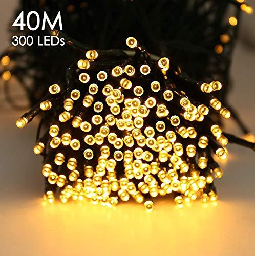 Quntis 300er 40m LED Lichterkette Batteriebetrieben Timer Warmweiß, Weihnachtsbeleuchtung Außen...