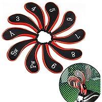 Jian Ya Na Juego DE 10 Fundas Protectoras para Cabeza de Palo de Golf con Cremallera para Todas Las Marcas Taylormade Titleist Callaway Ping Cobra Nike Etc 3-Sw