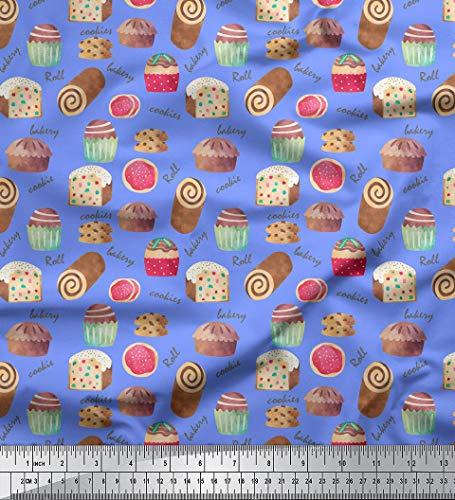 Soimoi Blau Samt Stoff Text & Cupcakes Lebensmittel Drucken Nahen Stoff 1 Meter 58 Zoll breit