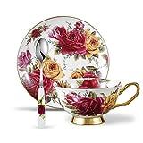 Panbado Service à Café Thé Anglais Tasse 200ml en Porcelaine à la Cendre d'Os avec Soucoupe Cuillère Bone China Teacup Floral (1 Set Tasse à Thé Sans Support)