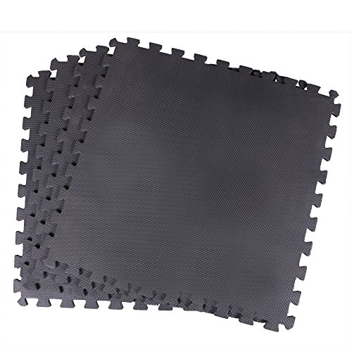 ScSPORTS Bodenschutz-/Puzzlematte, 4X Unterlegmatte für Fitnessgeräte, Laufband Crosstrainer, 1 Steckelement 62 x 62 x 1 cm, schwarz