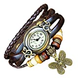 Boolavard TM BUTTERFLY Quartz Fashion Weave Wrap around Leather Bracelet Women Wrist Watch