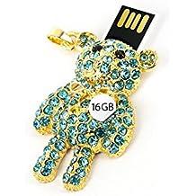 USB Stick Anhänger Bär 16 GB Stras blau gold farbig