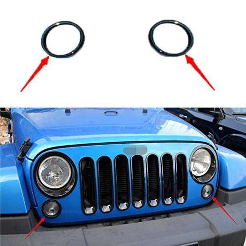 Opar-Black-girare-luce-segnale-cover-Trim-for-Jeep-Wrangler-2007--2017--Coppia