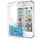 LeYi Coque iPhone 4S, Etui iPhone 4 avec Film de Protection écran, Fille Personnalisé Liquide Paillette Flottant Transparente 3D Silicone Gel Antichoc Kawaii Housse pour Apple iPhone 4/4S Blue