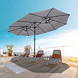 VOUNOT Parasol de Jardin Double Aluminium 270 x 460cm avec Manivelle, Toile 180 GR/m2 Protection Solaire Hauteur 2m50 Résistant à l'eau Housse de Protection Inclus Gris Claire