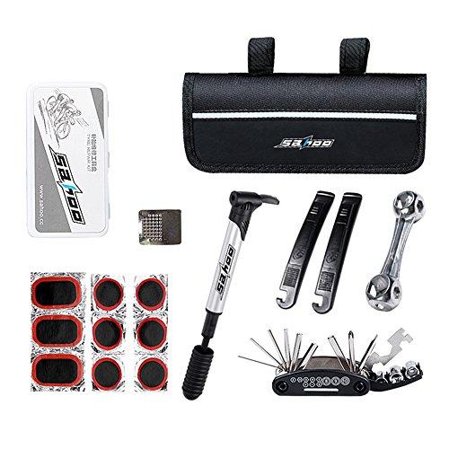 Fahrrad Reparatur Tool Kits, BODECIN 16 in 1 Multifunktion Purpose Bike Fahrrad Reparatur Tool Kit Set mit Sattel Tasche, Bike Mini Pump Tire Inflator und Patch Crowbar (Satteltasche Tool Kit)