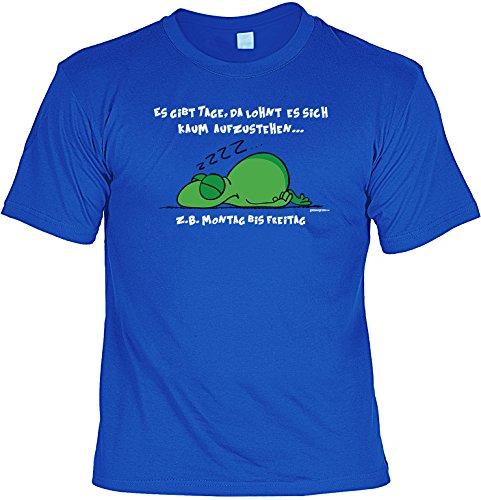 Spaß/Fun-Shirt mit witzigem Aufdruck: Es gibt Tage, da lohnt es sich kaum aufzustehen... - lustiges Geschenk Royal-Blau