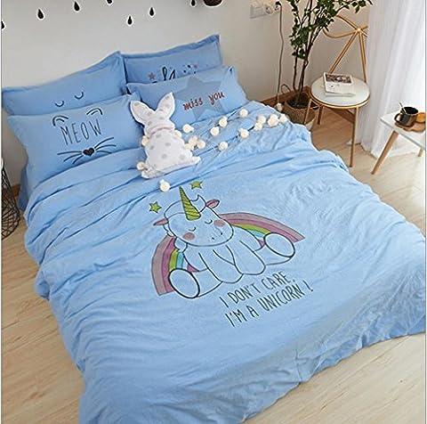 Kiomia Niedliche Cartoon Unicorn Bett Sets Polyester Bettbezug Sets Komfortable und weiche Bettwäsche-Set , blue
