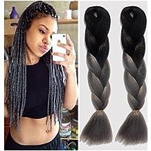 Fibra Kanekalon Cable de Ombre Xpression Braiding Hair para caja mechones extensiones 165g/pcs 35inch Negro/Gris Ombre pelo trenzado, 5piezas