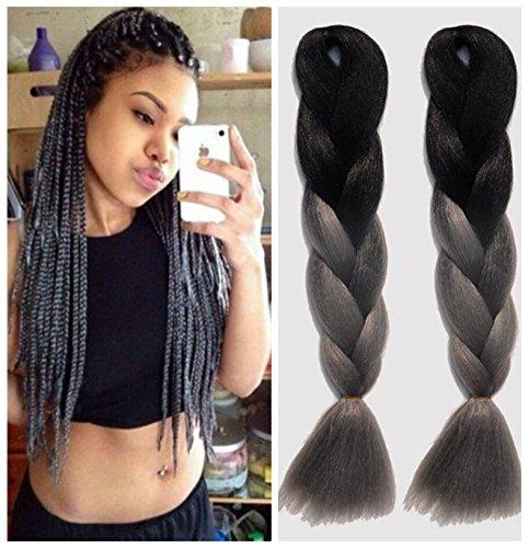 (Kanekalon Faser Ombre Xpression Flechten Haar für Box Zöpfe Extensions 165G / Pcs 35 Zoll Schwarz / Grau Ombre Flechten Haar 5 Stück)