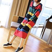 HYW Las Mujeres de Primavera Deletrean Rayas de Color V-Cuello de Punto Vestido de Moda de Gran Tamaño Ropa Suelta Larga,UN,Todo el código