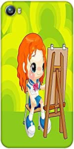 Snoogg painting schoolgirl 2675 Designer Protective Back Case Cover For Micromax Canvas Fire 4 A107