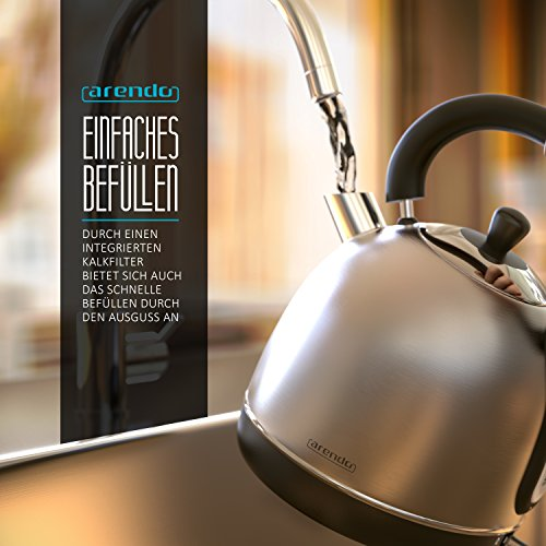 """Arendo – 3000 Watt Retro Edelstahl Wasserkocher / Teekessel / im Retro-Design (Teekessel-Form)   3000 Watt Leistungsaufnahme (Schnellkoch-Funktion)   integrierter Kalkfilter rausnehmbar   """"Cool-Touch-Tragegriff""""   Füllmenge maximal 1,8 Liter (leicht ablesbar)   automatische Abschaltung   integrierter leicht zu reinigender Kalkfilter - 6"""