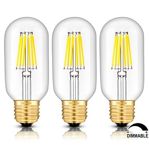 TAMAYKIM T45 6W Dimmbar Antik Edison Stil Glühfaden LED Lampe, 5000K Tageslichtweiß 650 Lumen, 65W Entspricht Glühlampe, E27 Fassung, Röhrenförmig Form, 360° Abstrahlwinkel, 3er-Pack (Set 3 Pack Classic)