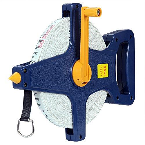 Deuba Rollbandmaß | 50m/165 Ft | Beidseitig markiert | Fiberglas | Öse | Maßband Bandmaß Messband Rollmeter Rollmaßband (Maßband Ende)