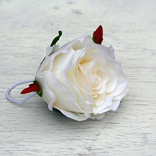 Haarschmuck Rose Haarblüte Haarblume Haarspange mit Haargummi Hochzeit in weiss #1028 - Rose Haargummi