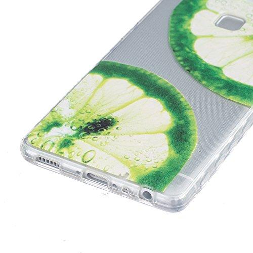 Huawei P9 Hülle, E-Lush TPU Soft Silikon Tasche Transparent Schale Clear Klar Hanytasche für Huawei P9 Durchsichtig Rückschale Ultra Slim Thin Dünne Schutzhülle Weiche Flexibel Handyhülle Kratzfeste S Zitrone