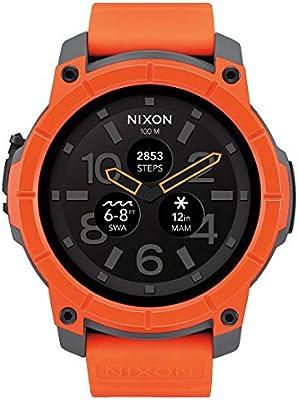 Nixon A1167-2658-00 Smartwatch - Reloj cuarzo para hombre, correa de silicona naranja