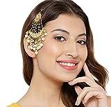 #2: Abhaah Kundan Wedding Jhumar Passa/jhoomar Maang Tikka/Brooch for Women Girls Hair Chain (Gold)
