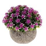 Fenteer Künstliche Gypsophila Bonsai Pflanzen im Topf Kunstpflanze Dekopflanzen Topfpflanzen - Lila - 8