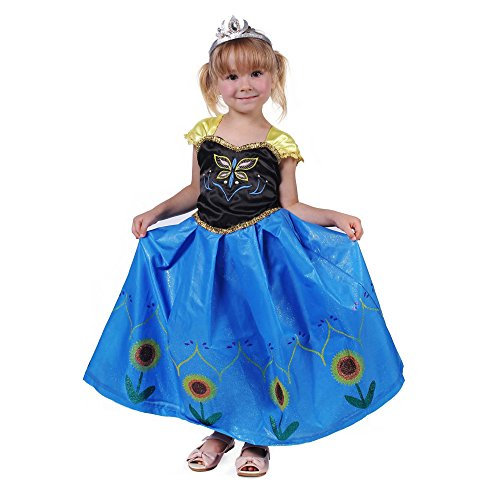Vier Kostüme Mädchen (Pettigirl Mädchen Königin Kostüm Halloween Karneval Prinzessinkleid Blau 4)