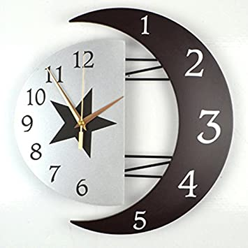 Moderne Dekorative Kreative Wanduhr Stumm Wohnzimmeruhr Personifizierte Einfache Hngende Tabelle Mode Schlafzimmer Sonne Mond Quarz Uhr Grsse 16