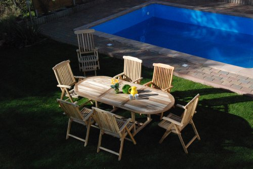 SAM® Teak-Holz Gartengruppe, 9 teilig, Garten-Möbel aus Massiv-Holz, bestehend aus 1 x Auszieh-Tisch + 6 x Hochlehner Klapp-Stuhl + 1 x Deckchair Sonnen-Liege + 1 x Beistell-Tisch [521627] - Teak-klapp-beistelltisch