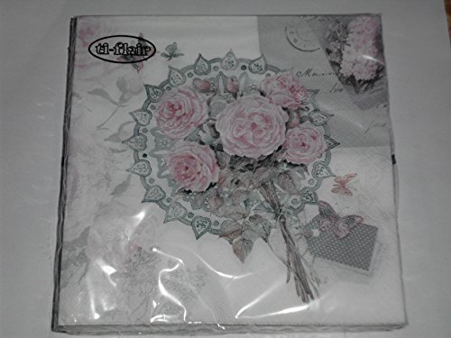 20 Servietten, Messagio Romantico, Vintage Rose, 33x33cm Romantica Rosen