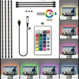 LED-Strip TV-LED-Hintergrundbeleuchtung, 4x0.5m RGB LED Streifen Für 40 bis 75 Zoll TV USB LED TV Beleuchtung mit 24 Tasten Remote, LED Fernseher Beleuchtung [Energieklasse A++]