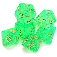 Preisvergleich für KUNSE Polyhedrale Würfel Mit Beutel Hell Grün 7 Stück Set DND RPG