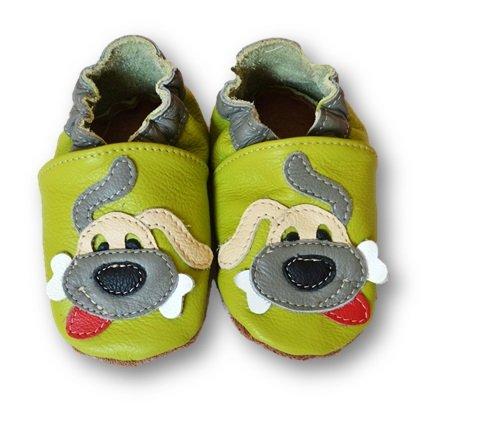 Gr枚脽e Motiv Leder 26 mit Fiorino Babyschuhe Hund in gelben Schuhe Krabbelschuhe 25 Sternen Lauflern blau vPFx1qPw