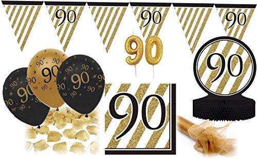 (28 Teile Dekorations Set zum 90. Geburtstag oder Jubiläum - Party Deko in Schwarz & Gold)