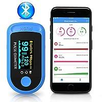 Safi-Bee Bluetooth Oximeter, Oxygen Saturation SpO2 Fingertip Oximeter, Heart Pulse Rate Monitor, Blood Oxygen Sensor, Plus Sports Home Use (Blue)