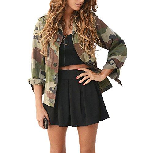 OverDose Damen Camouflage Jacken mantel Herbst Winter Street Casual Jacken outwear (S, Camouflage2) (Crochet Langarm Achselzucken)