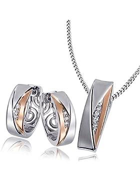 Goldmaid Damen-Set Halskette + Ohrringe 925 Sterlingsilber Red Eye mit Zirkonia Kettenanhänger Schmuck