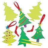 Kratzbild Anhänger Weihnachtsbaumschmuck für Kinder für Kinder zum Basteln und als Baumschmuck (8 Stück)