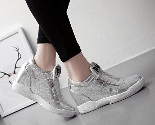 SHINIK Frauen Sport Schuhe Frühling Reißverschluss Casual Schuhe Stealth Inside The Wild Light Single Schuhe Outdoor Sport Sandalen Silver