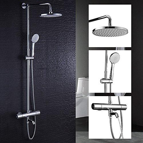 Hausbath thermostatique de salle de bain moderne Chrome Mélangeur bain/douche robinet anti-brûlure Flexible de douche Pomme de douche Top Spray Douche 4Suit