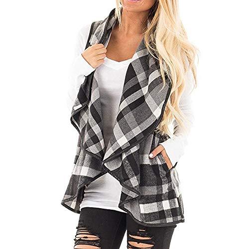 Vovotrade ☁ womens fashion plaid vest sleeveless cardigan con risvolto canotte da donna