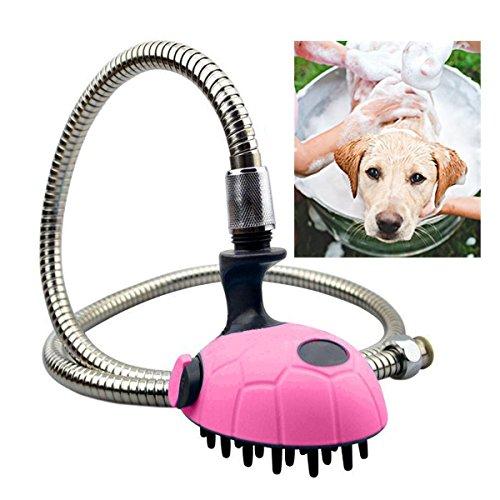 Dusche Kit Pet (Hund Dusche Kit, tragbar Handhold Pet Waschmaschine Katzen Bad Duschkopf Massage Fellpflege Bürste Kamm Spritze Shampoo Spender (119,4cm Edelstahl Schlauch))