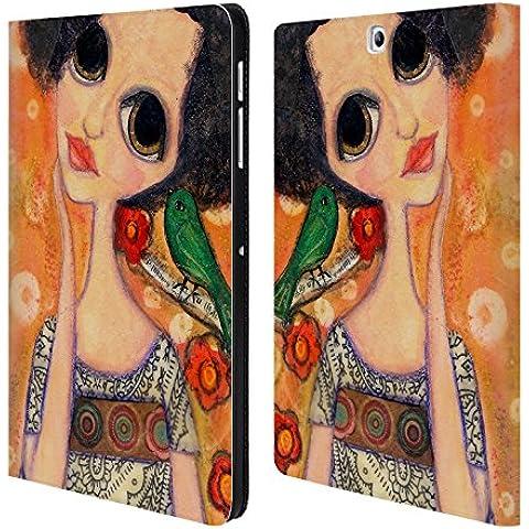 Ufficiale Wyanne Un Uccello Dice Ragazza Dagli Occhi Grandi 2 Cover a portafoglio in pelle per Samsung Galaxy Tab S2 9.7